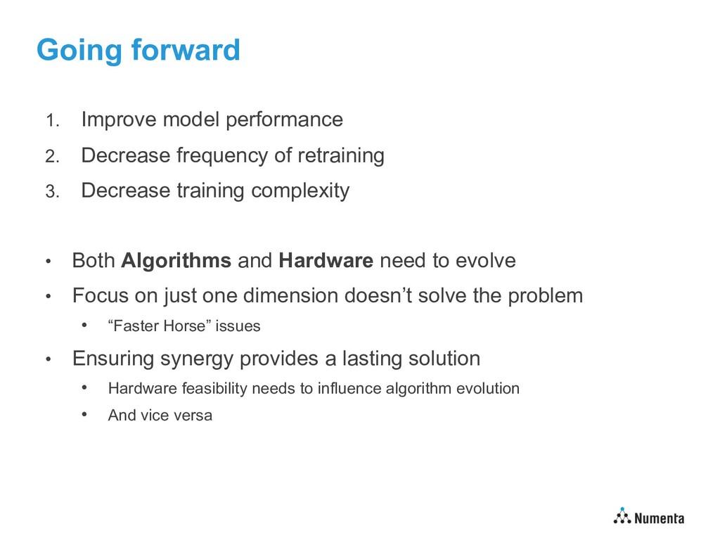 Going forward 1. Improve model performance 2. D...