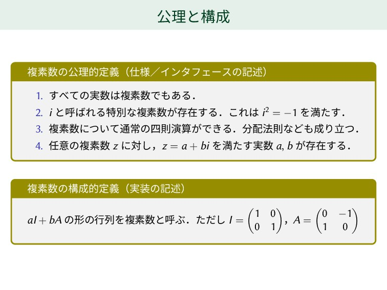 公理と構成 複素数の公理的定義(仕様/インタフェースの記述) 1. すべての実数は複素数でもあ...