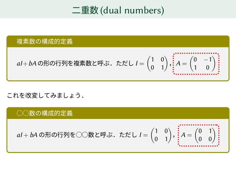 二重数 (dual numbers) 複素数の構成的定義 aI+bA の形の行列を複素数と呼ぶ...