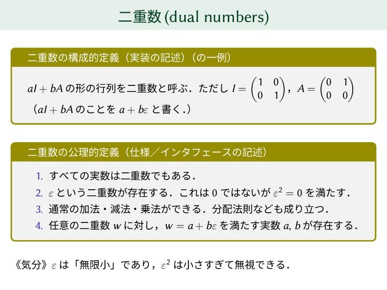 二重数 (dual numbers) 二重数の構成的定義(実装の記述) (の一例) aI + ...