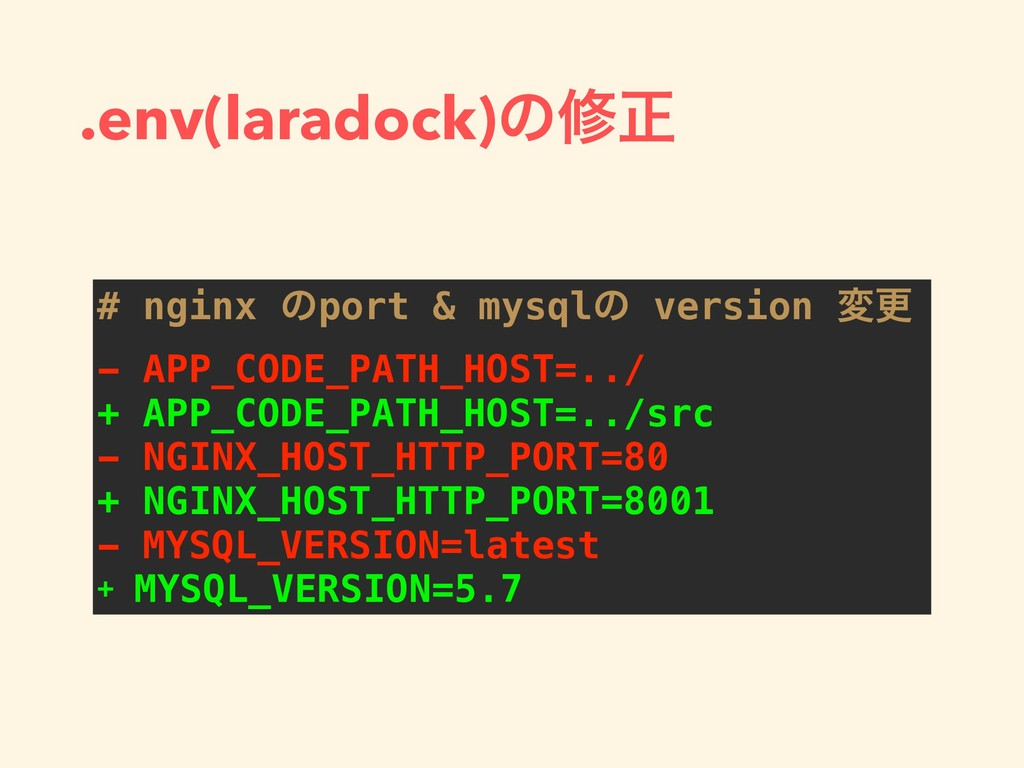 .env(laradock)ͷमਖ਼ # nginx ͷport & mysqlͷ versio...