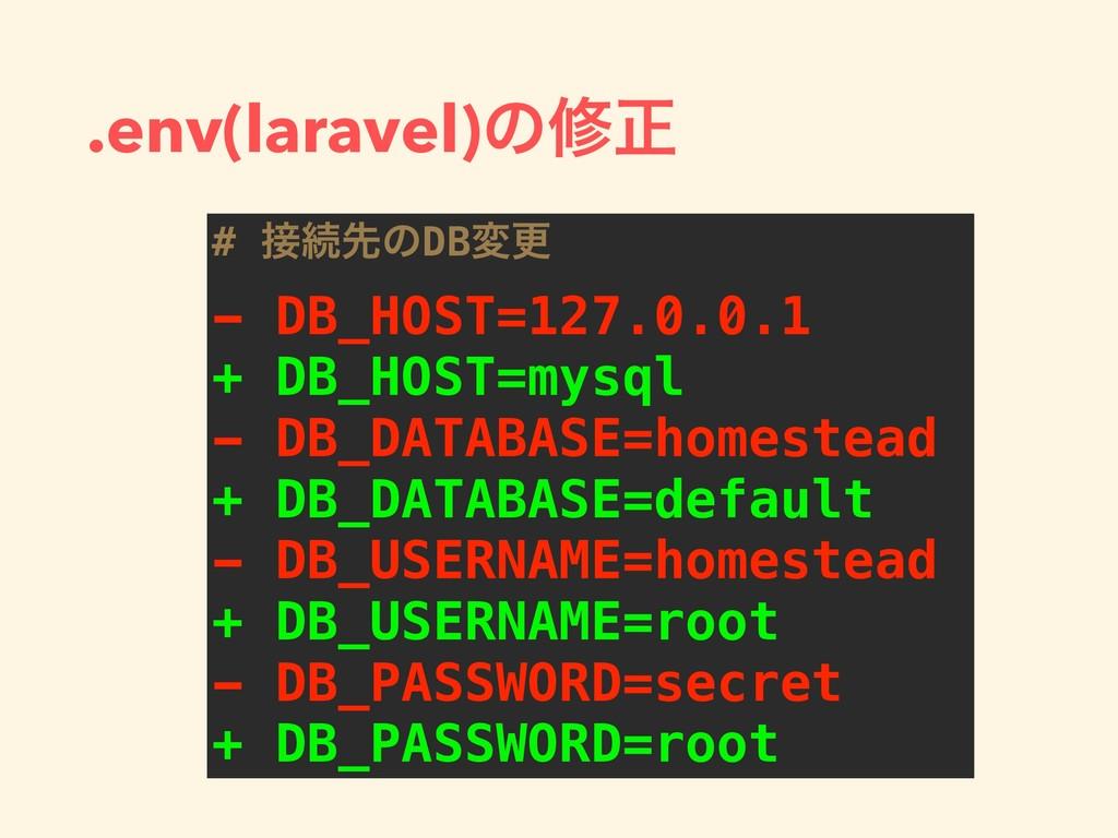 .env(laravel)ͷमਖ਼ # ଓઌͷDBมߋ - DB_HOST=127.0.0.1...