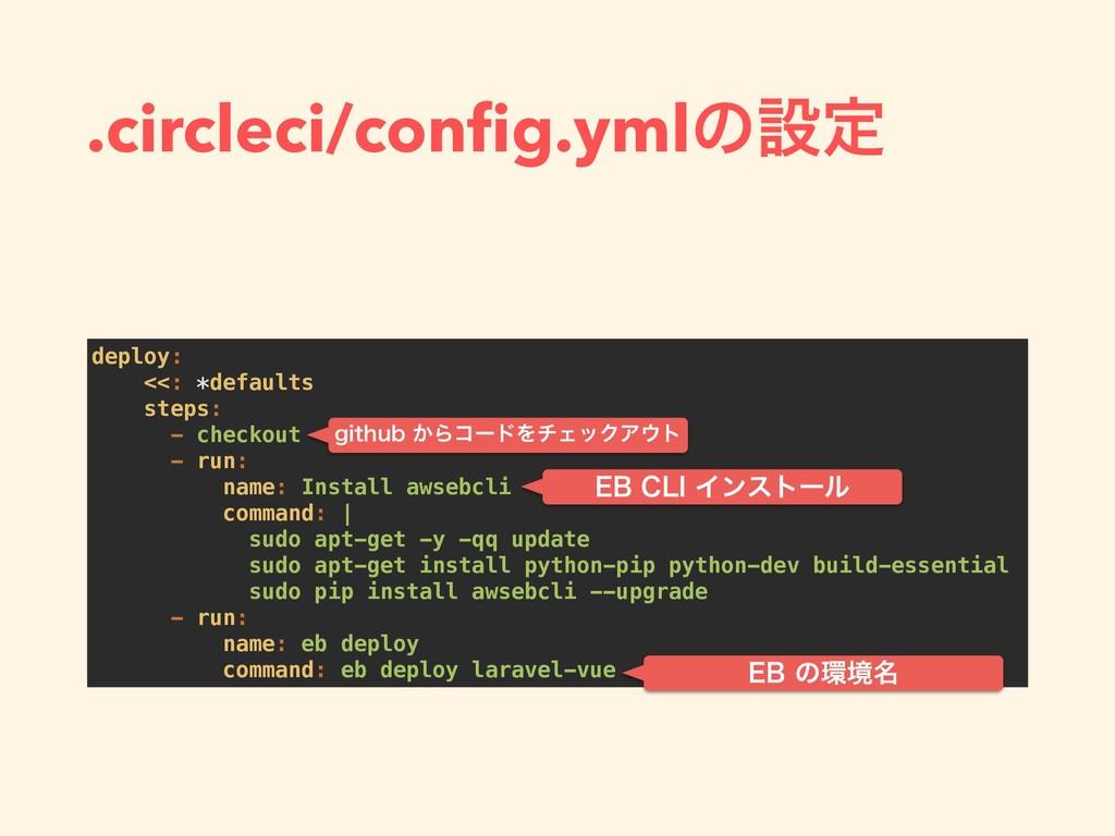 .circleci/config.ymlͷઃఆ deploy: <<: *defaults st...