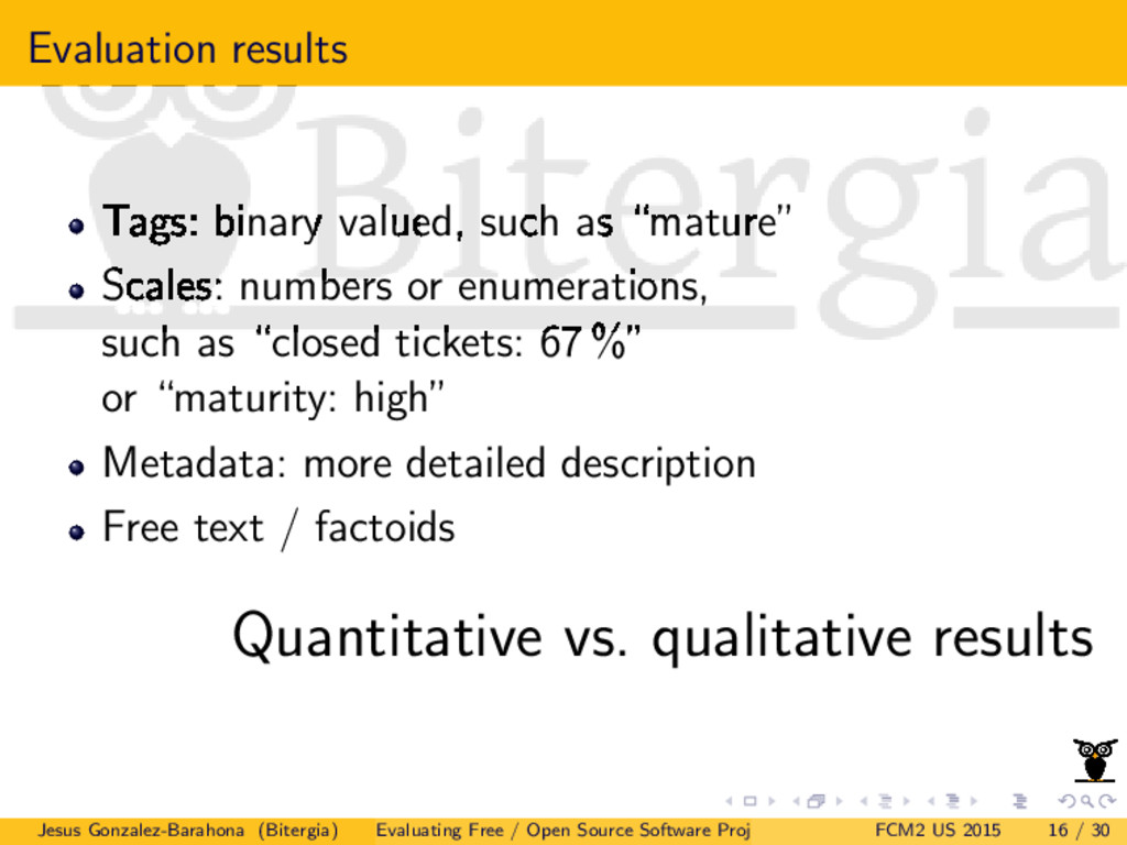Evaluation results Tags: binary valued, such as...
