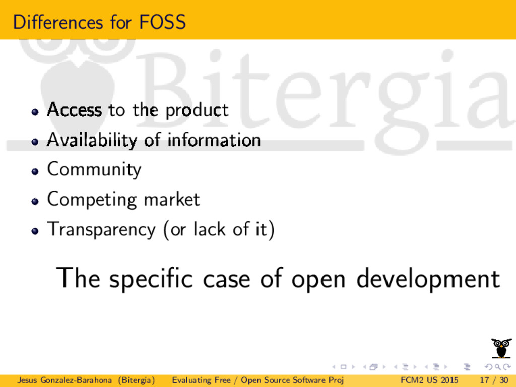 Differences for FOSS Access to the product Avail...
