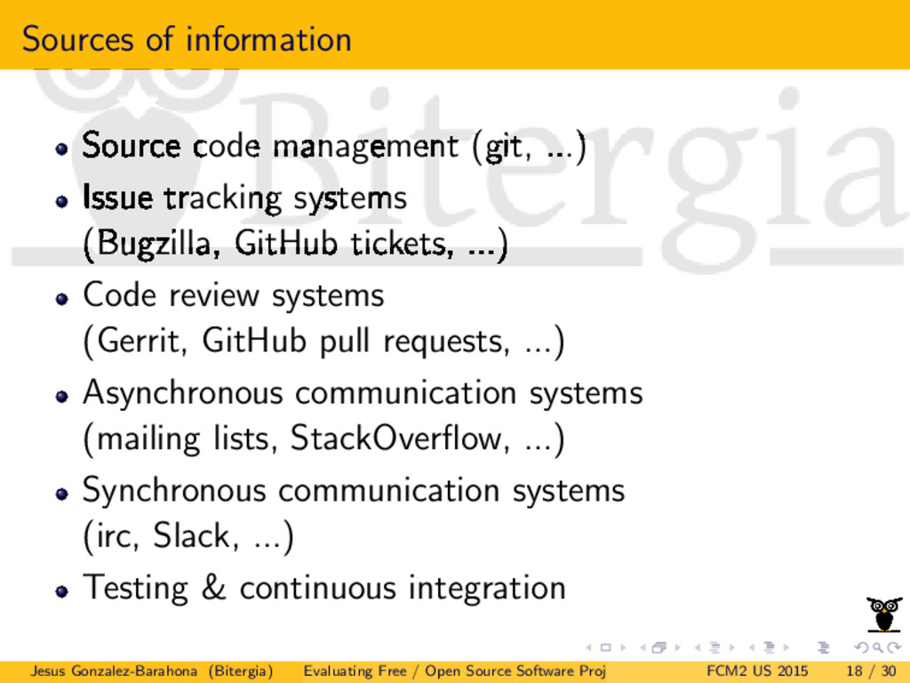 Sources of information Source code management (...