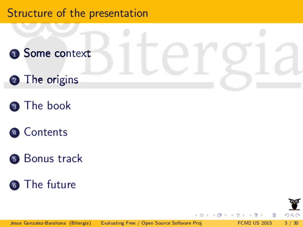 Structure of the presentation 1 Some context 2 ...