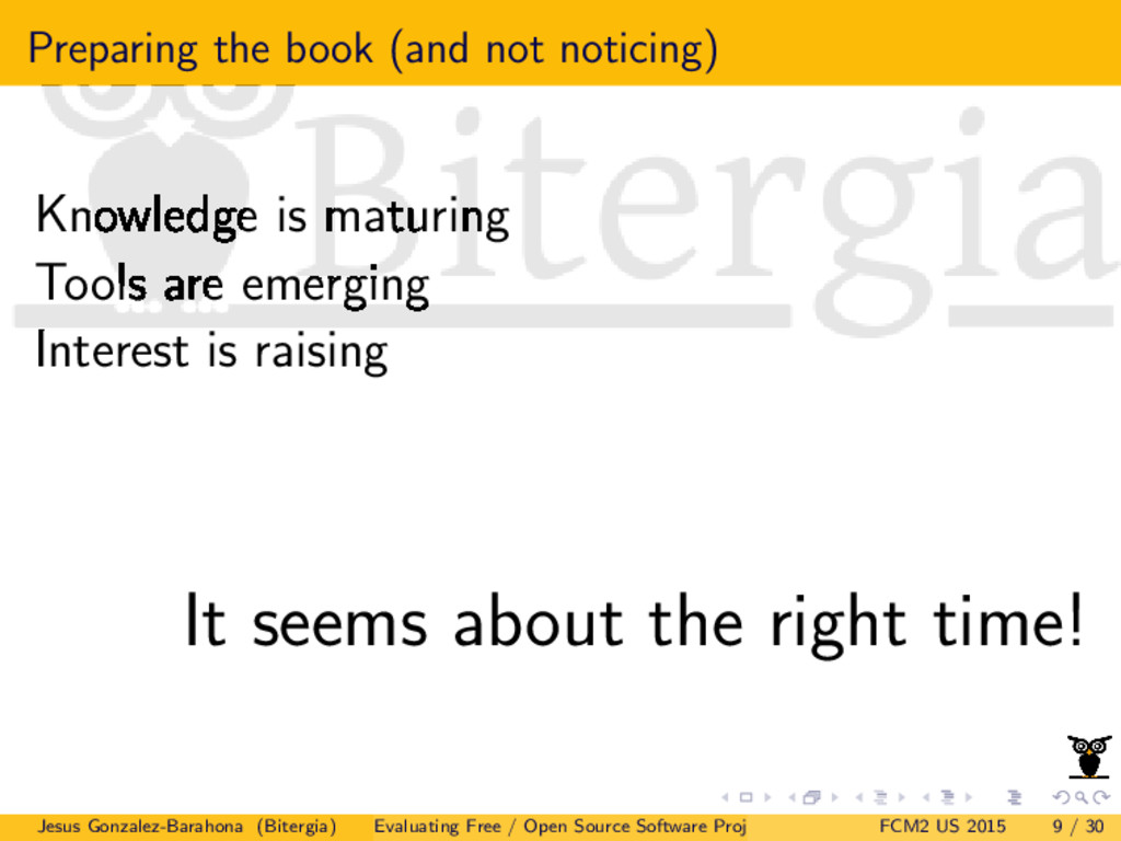 Preparing the book (and not noticing) Knowledge...