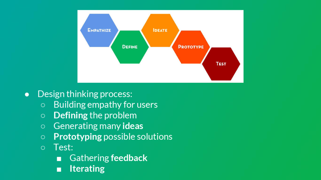 ● Design thinking process: ○ Building empathy f...