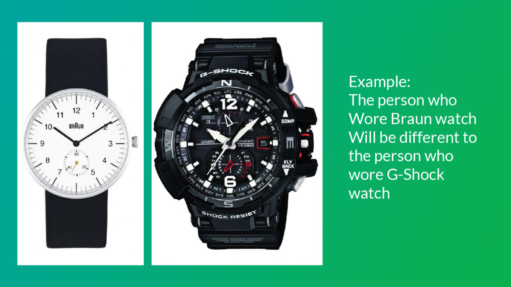 Example: The person who Wore Braun watch Will b...