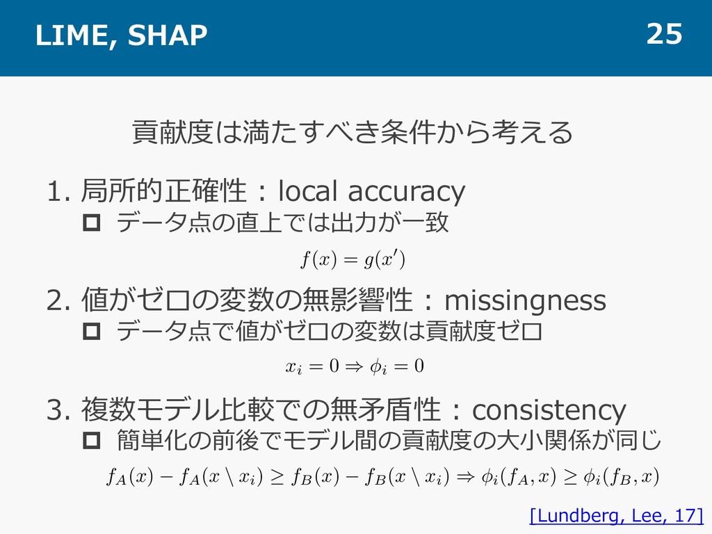 LIME, SHAP 25 貢献度は満たすべき条件から考える [Lundberg, Lee, ...
