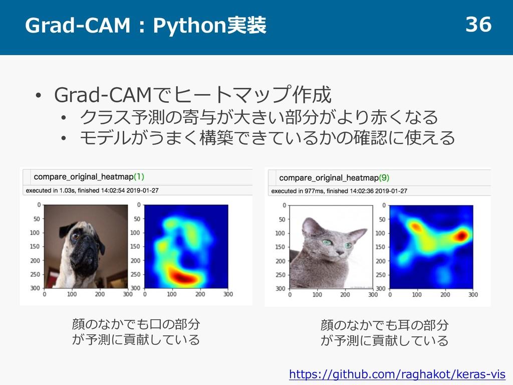 Grad-CAM : Python実装 36 • Grad-CAMでヒートマップ作成 • クラ...