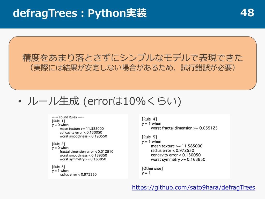 defragTrees:Python実装 48 • Surrogate Model • ルール...