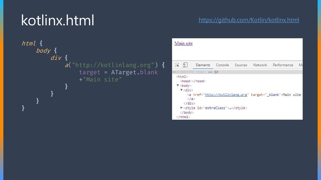 "html { body { div { a(""http://kotlinlang.org"") ..."