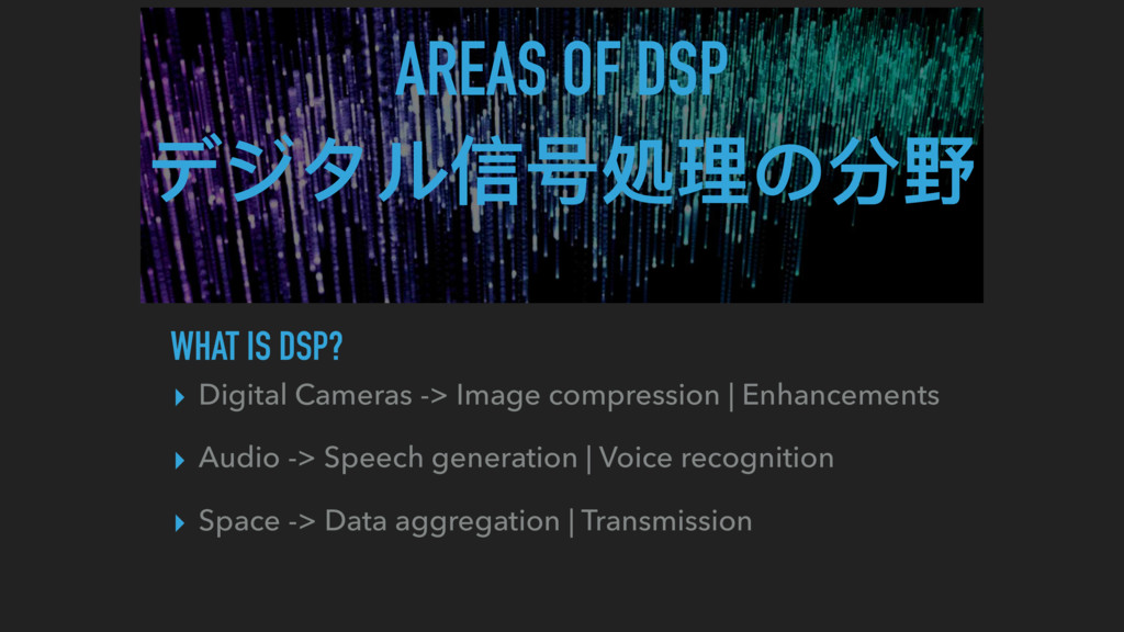 AREAS OF DSP デジタル信号処理理の分野 WHAT IS DSP? ▸ Digita...