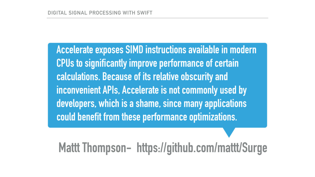 Accelerate exposes SIMD instructions available ...