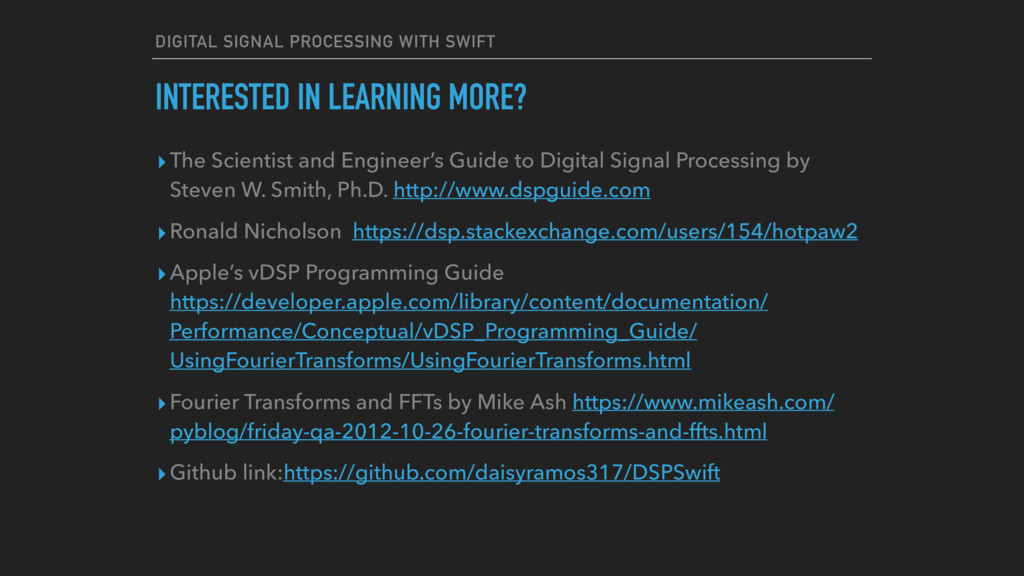 DIGITAL SIGNAL PROCESSING WITH SWIFT ▸The Scien...