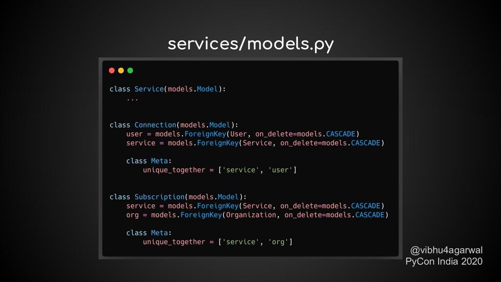 @vibhu4agarwal PyCon India 2020 services/models...