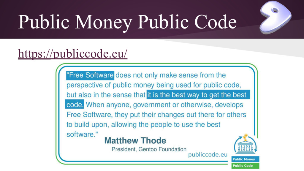 Public Money Public Code https://publiccode.eu/