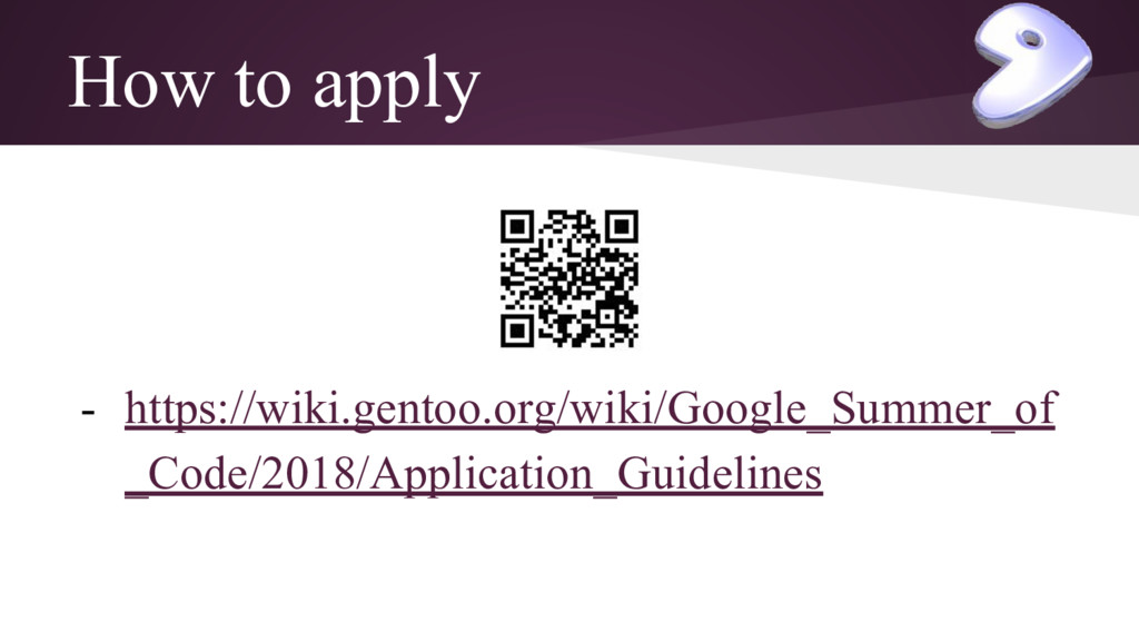 How to apply - https://wiki.gentoo.org/wiki/Goo...