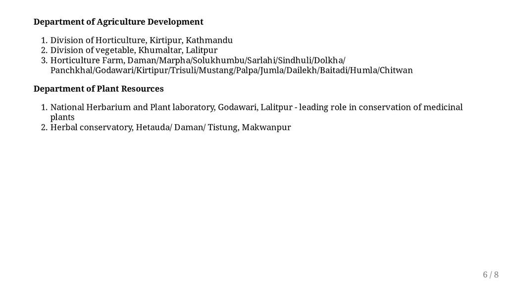 Department of Agriculture Development 1. Divisi...