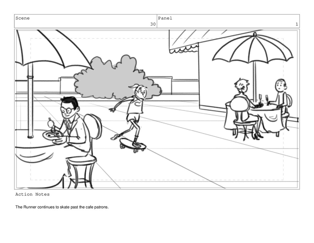 Scene 30 Panel 1 Action Notes The Runner contin...