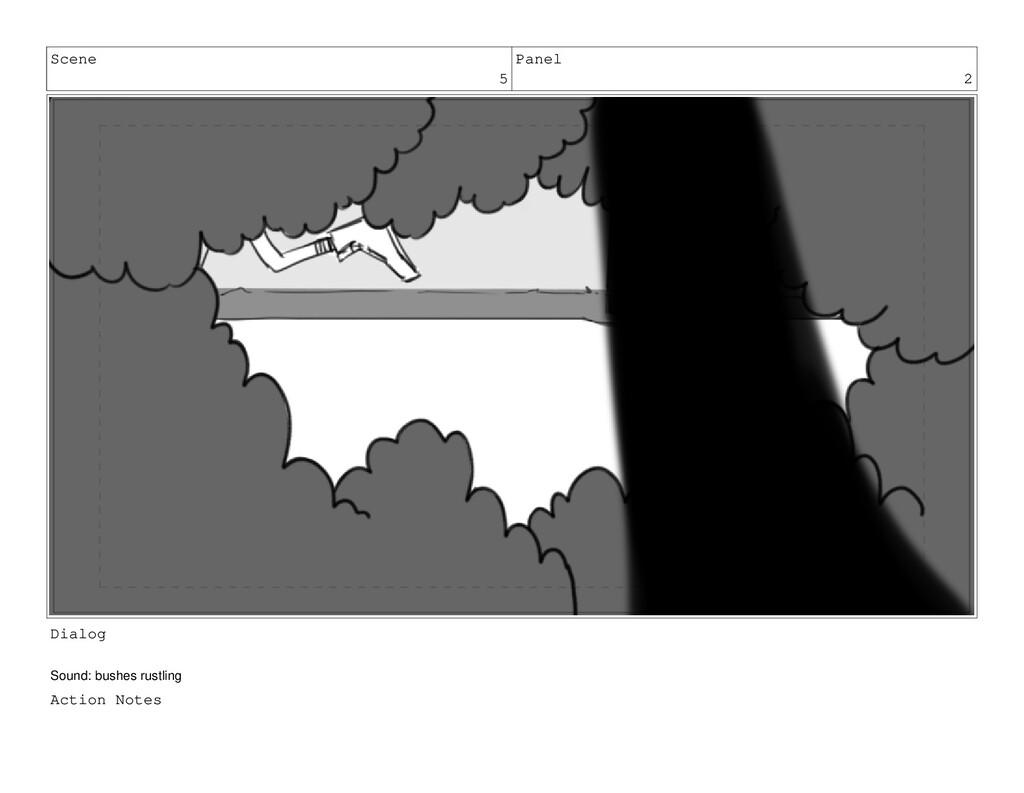 Scene 5 Panel 2 Dialog Sound: bushes rustling A...