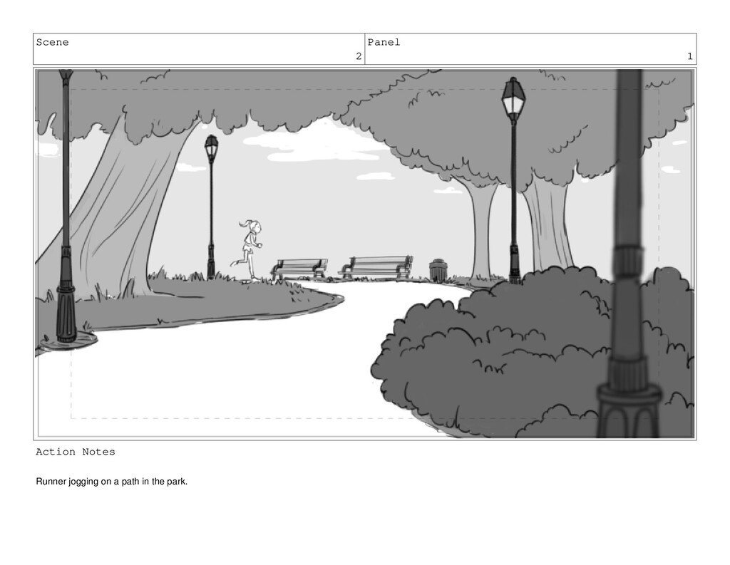 Scene 2 Panel 1 Action Notes Runner jogging on ...