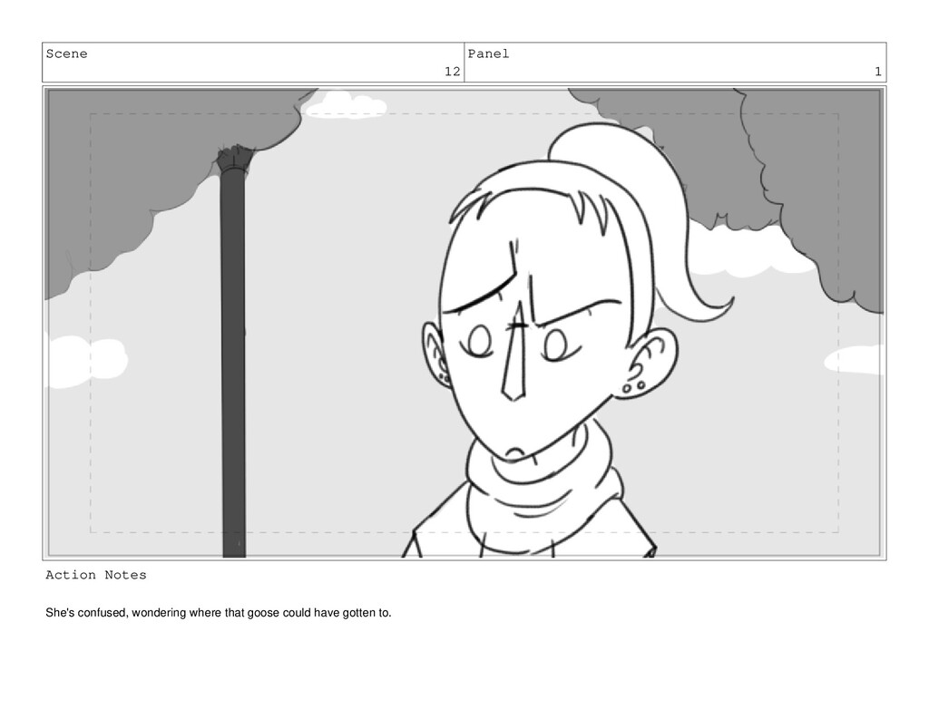 Scene 12 Panel 1 Action Notes She's confused, w...