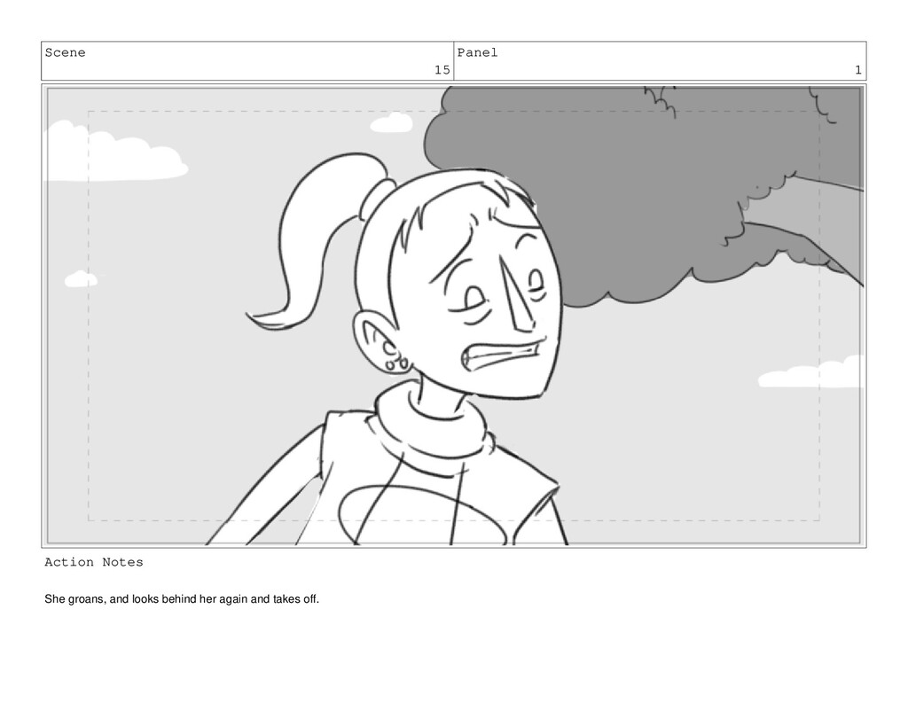 Scene 15 Panel 1 Action Notes She groans, and l...