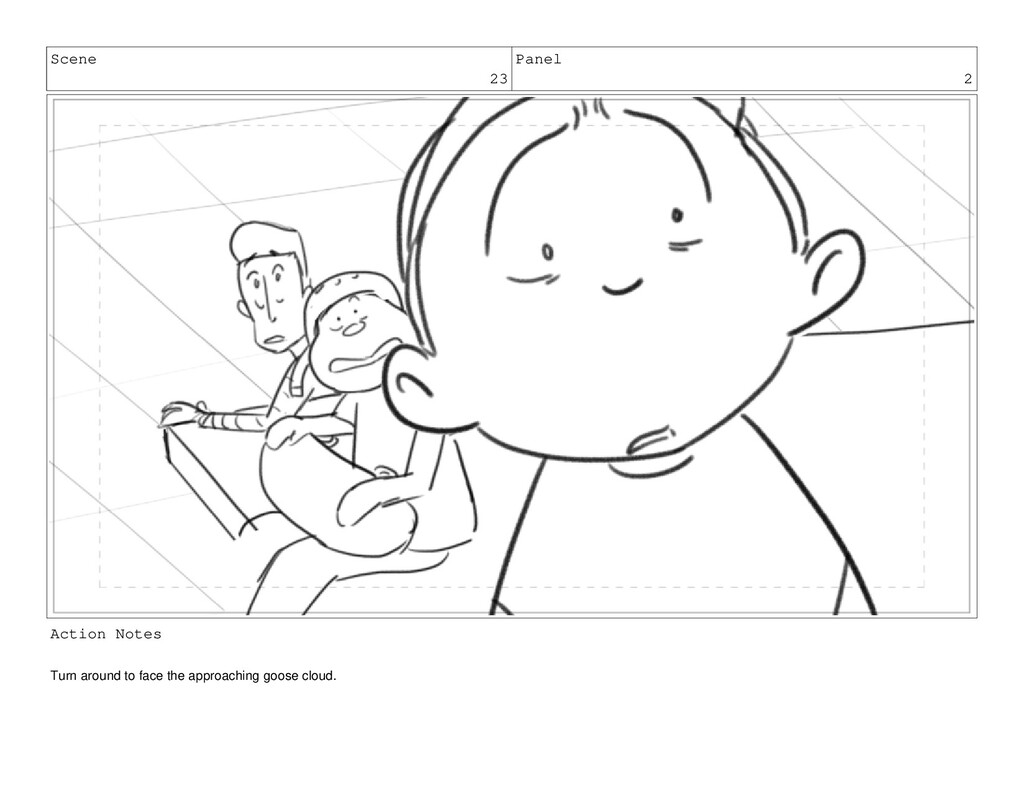 Scene 23 Panel 2 Action Notes Turn around to fa...