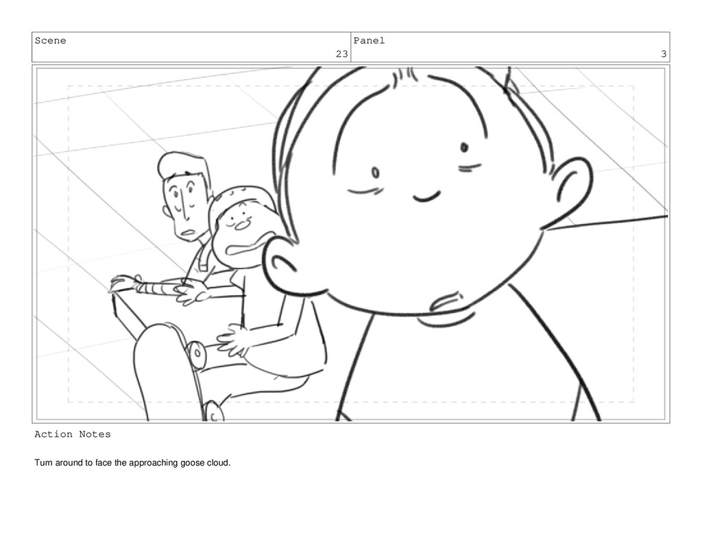 Scene 23 Panel 3 Action Notes Turn around to fa...