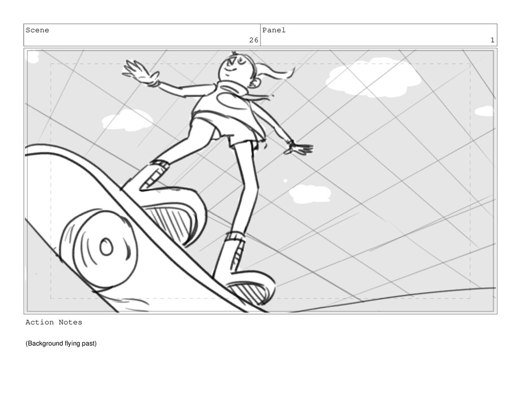 Scene 26 Panel 1 Action Notes (Background flyin...