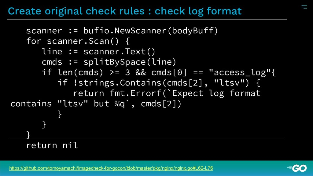 Create original check rules : check log format ...