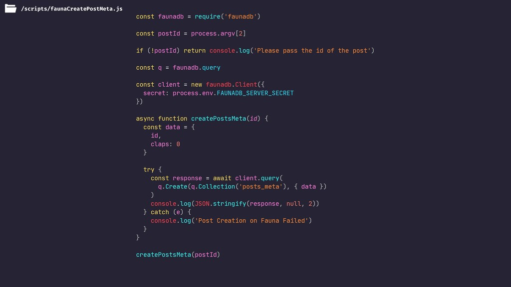 const faunadb = require('faunadb')  const postI...