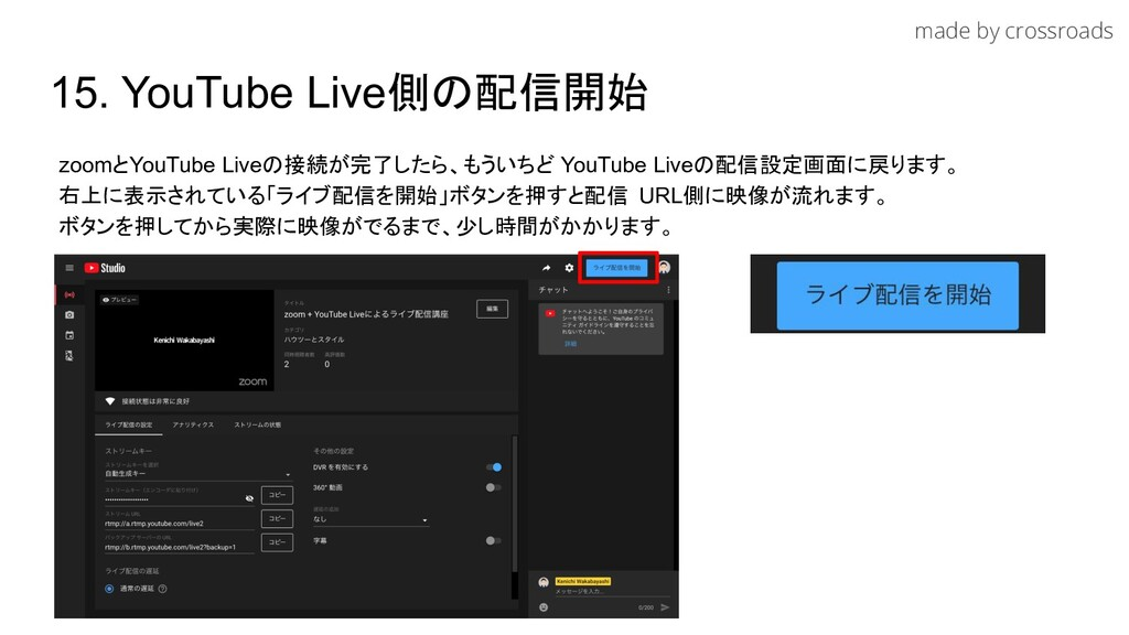 made by crossroads 15. YouTube Live側の配信開始 zoomと...