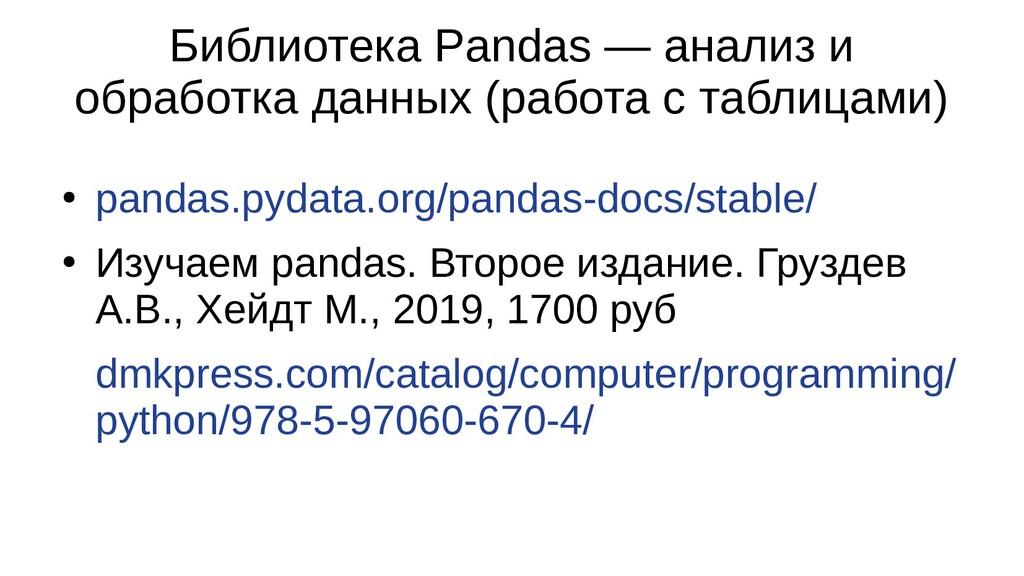 Библиотека Pandas — анализ и обработка данных (...