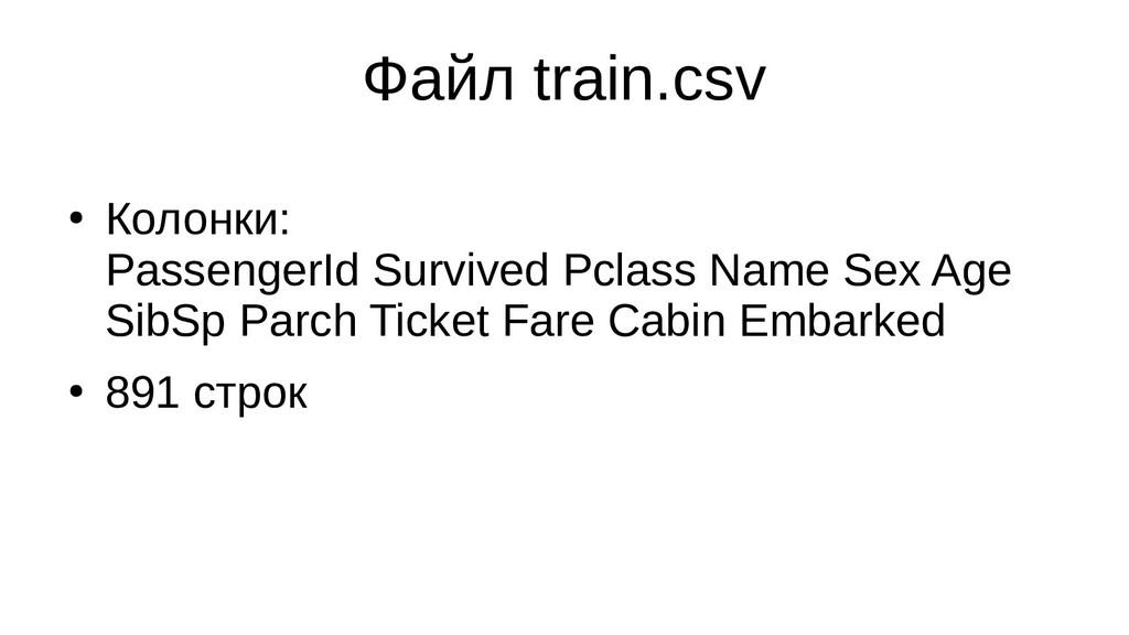 Файл train.csv ● Колонки: PassengerId Survived ...