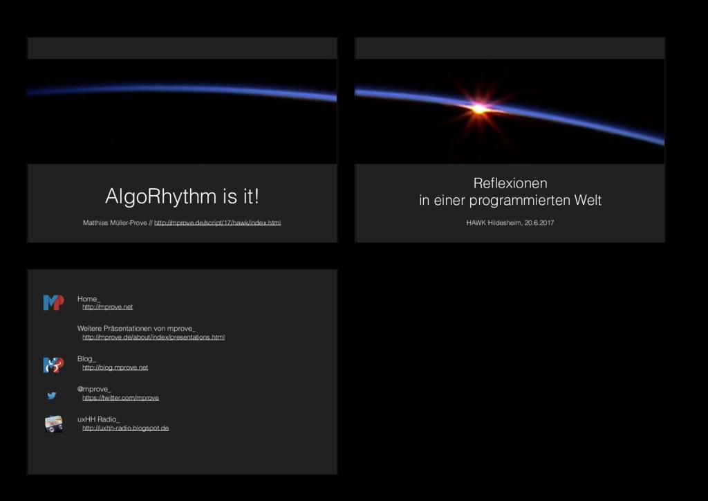 AlgoRhythm is it! Matthias Müller-Prove // http...