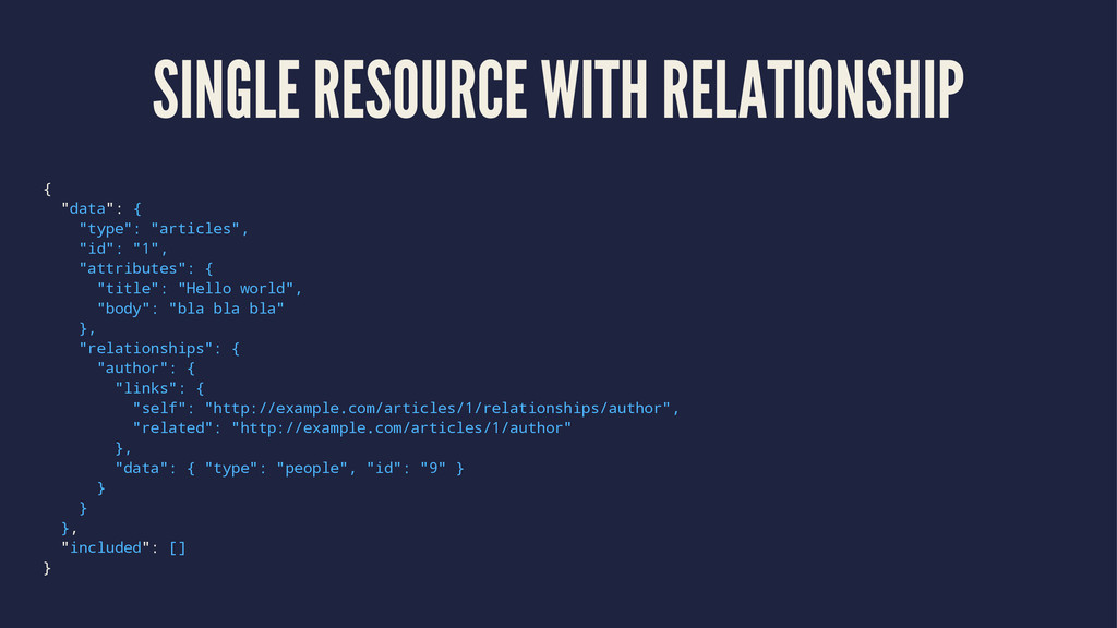 """SINGLE RESOURCE WITH RELATIONSHIP { """"data"""": { """"..."""