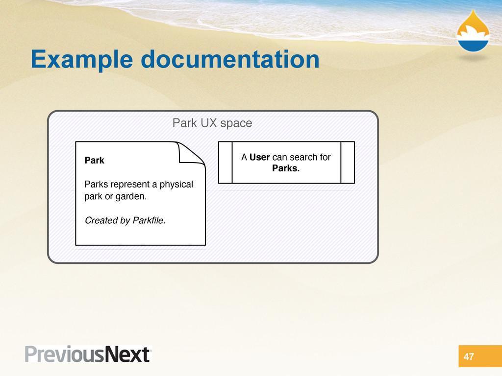 47 Example documentation Park UX space Park Par...