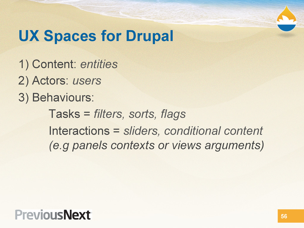 UX Spaces for Drupal 1) Content: entities 2) Ac...