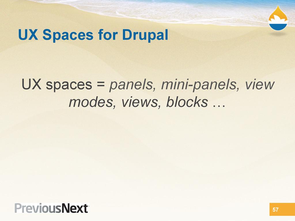 UX Spaces for Drupal UX spaces = panels, mini-p...
