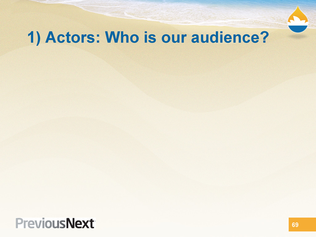1) Actors: Who is our audience? 69