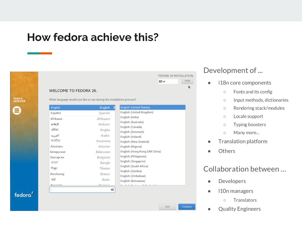 How fedora achieve this? Development of ... ● i...