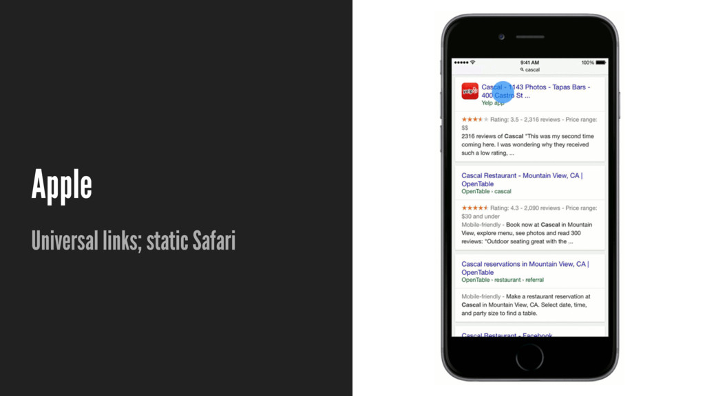 Apple Universal links; static Safari