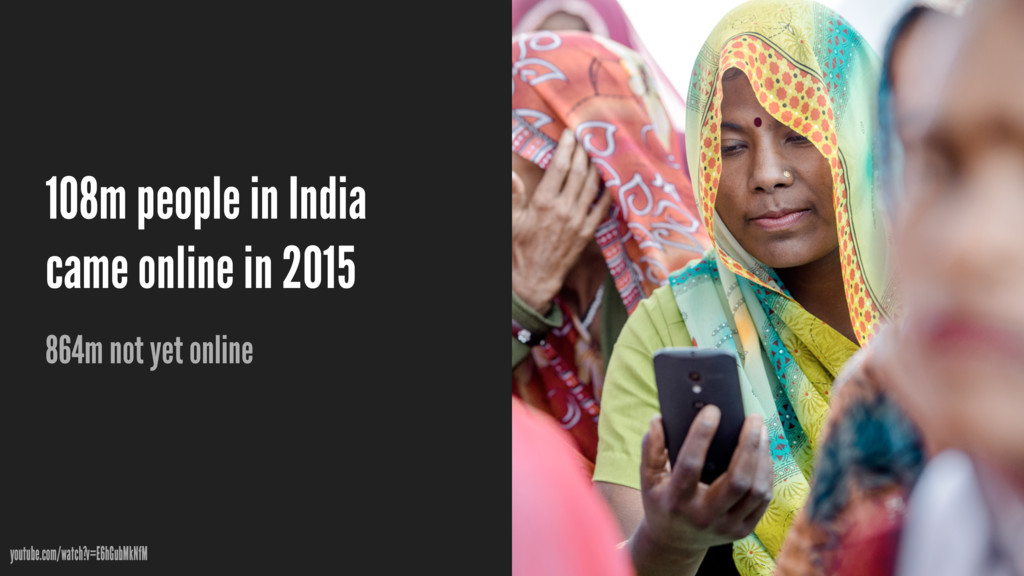 108m people in India came online in 2015 864m n...