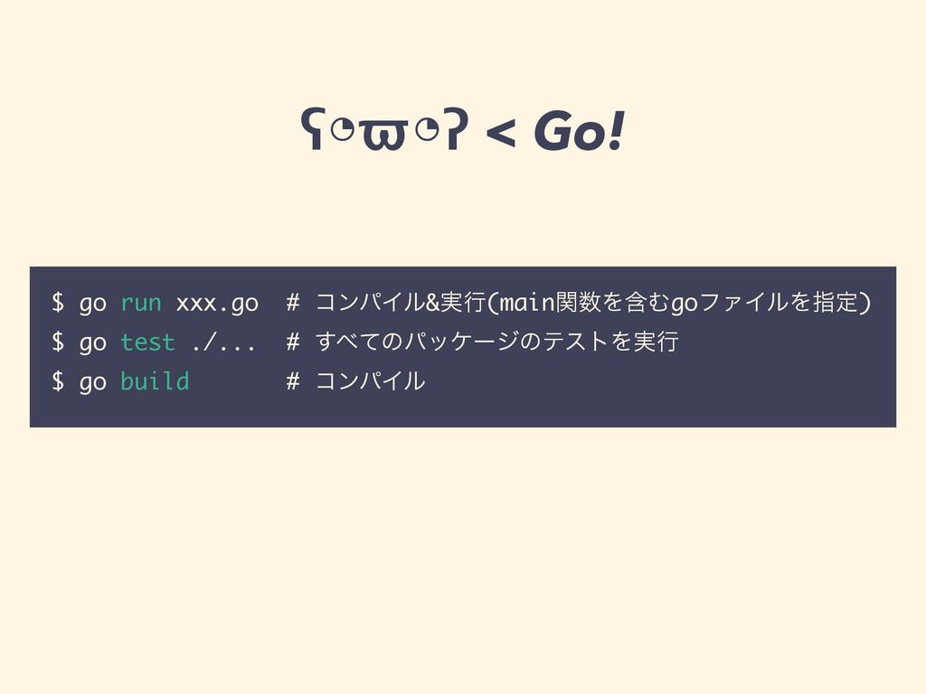 ʕ◔ϖ◔ʔ < Go! $ go run xxx.go # ίϯύΠϧ&࣮ߦ(mainؔΛؚ...
