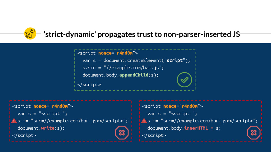 'strict-dynamic' propagates trust to non-parser...